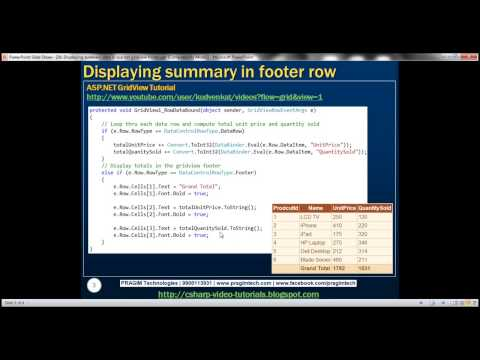 26 Displaying summary data in asp net gridview footer   Part 26