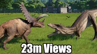 Pentaceratops(Modified) VS Carcharodontosaurus, Spinoraptor, Indoraptor, Giganotosaurus - JWE