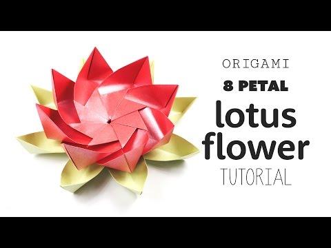 Origami 8 Petal Modular Lotus Flower 𑁍 DIY 𑁍 Paper Kawaii