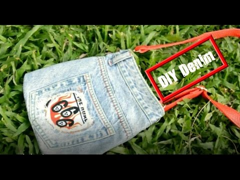 how to make jeans crafts | Recycling jeans | DIY makeup kit handbag | (NO SEW)