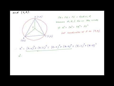 Find center of circle circumscribing a triangle with vertices (2,3), (3,4) and (6,8).
