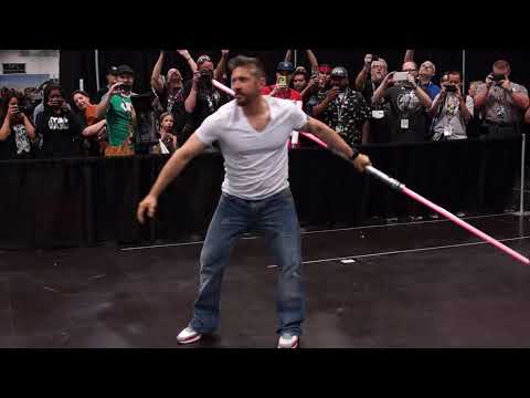 Ray Park and a double-bladed lightsaber