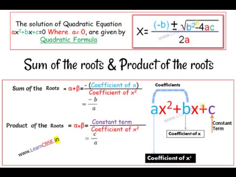 Quadratic equation | Sum and Product of roots  Derivation  (with Word Problem)