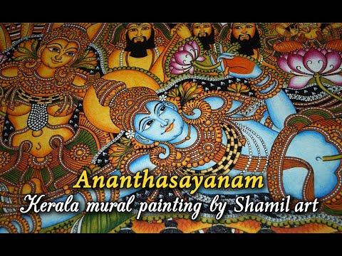 Ananthasayanam   Kerala mural painting   steps   by Shamilart