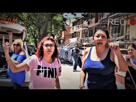 Caught on camera! Disorderly mom & teen illegally obstructing vehicle from parking in NYC