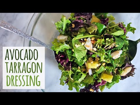 Dinner Salad with Shrimp with Avocado Tarragon Dressing | One Hungry Mama