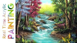 00c7e8004 Painting a Garden with River Rapids in Real Time with Acrylics!