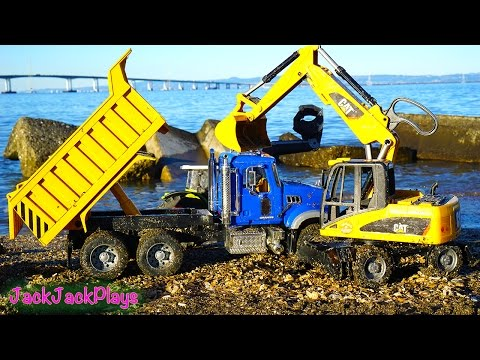 Bruder Construction Trucks for Children Digging: Kid Playing with Toys at the Beach