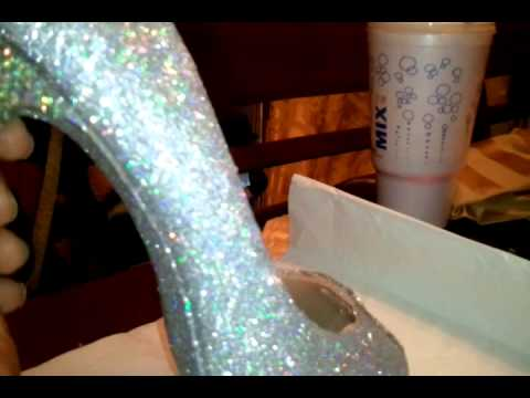 DIY glittered glass slipper shoe soooooo pretty