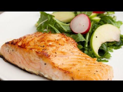 Honey Caramelized Salmon With Arugula & Apple Salad