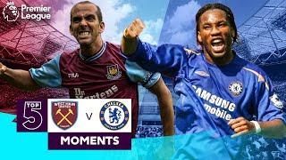 West Ham vs Chelsea | Top 5 Premier League Moments | Di Canio, Drogba, Lampard