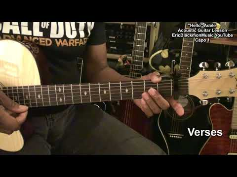 Adele HELLO Easy Acoustic Guitar Lesson EricBlackmonGuitar HD