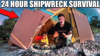 24 HOUR BOX FORT SHIPWRECK BEACH SURVIVAL!! 📦😱 Primitive Technology, Fishing Challenge & More!