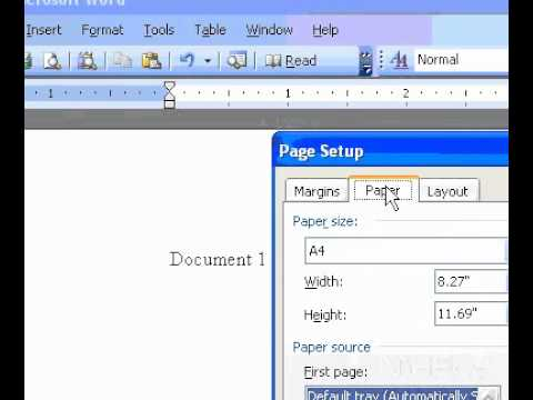 Microsoft Office Word 2003 Select  a paper size