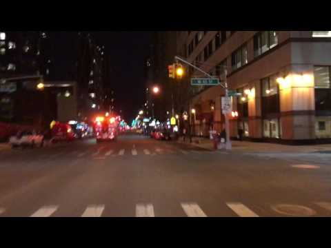 FDNY RESCUE 1 RESPONDING ON AMSTERDAM AVENUE ON THE UPPER WEST SIDE OF MANHATTAN IN NEW YORK CITY.