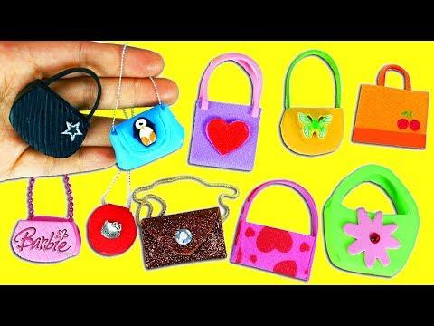 10 DIY Barbie Doll Miniature Purse, Handbag, Bag -10 Different Styles - 10 Easy DIY Doll Crafts #1