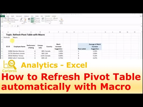 How to Refresh Pivot Table automatically with Macro