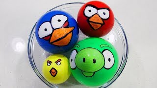 Making Slime with Funny Angry Birds Themed Balloons!