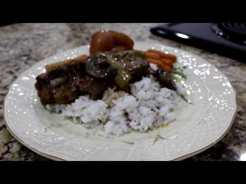 Pot Roast with Vegetables, Gravy, and Rice