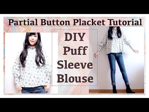 DIY Puff Sleeve Blouse / Partial Button Placket Tutorialㅣmadebyaya