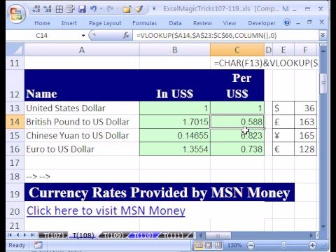 Excel Magic Trick #108: Exchange Rate Table From Web Query