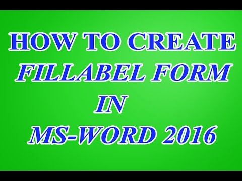 How to create Fillable Form in Microsoft word 2016