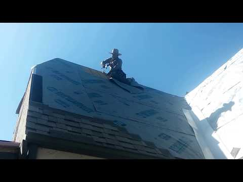 steep roof installation, scary roof installations !
