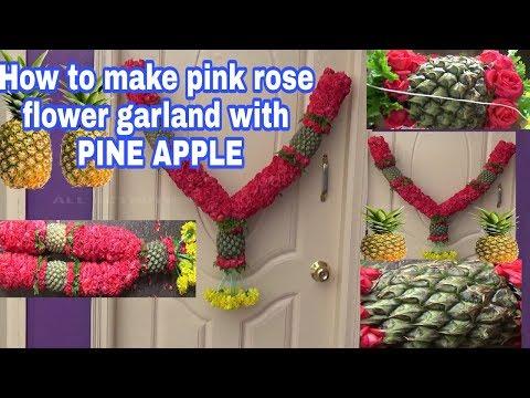 How to make pink rose flower garland with Pine apple/pineapple fruit garland/haar/phool/garland
