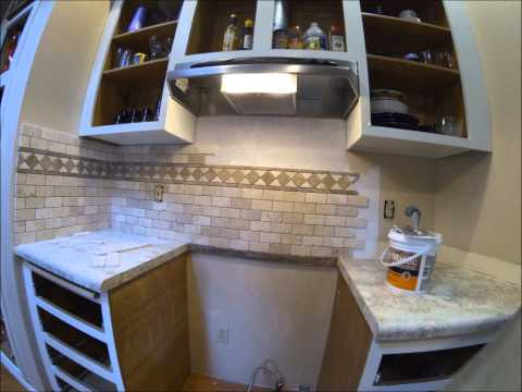 Tumbled Travertine Subway Tile Insall Time Lapse