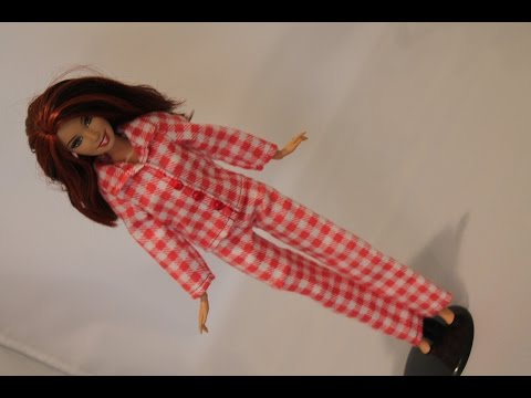 0001 Clothes for Barbie Doll. Flannel red pajamas set