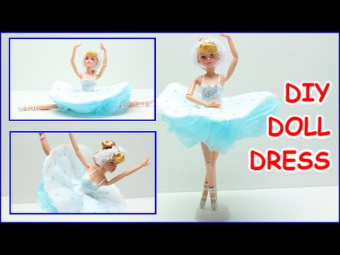 How to Make a Ballerina Doll Dress for Barbie DIY Tissue Paper Crafts Doll Dress Fun