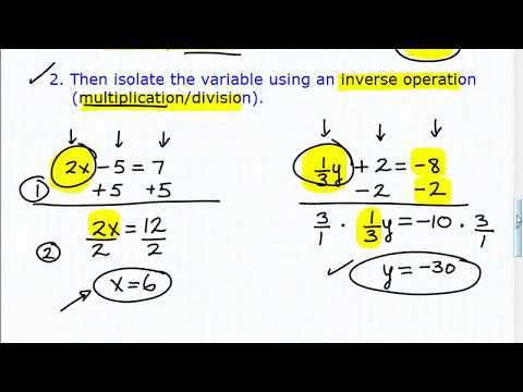 Two Step Equations (solving equations with 2 steps)