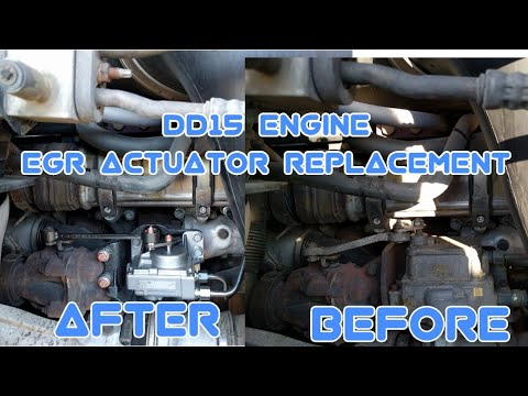 Freightliner Cascadia DD13 DD15 engine EGR valve actuator removal replacement