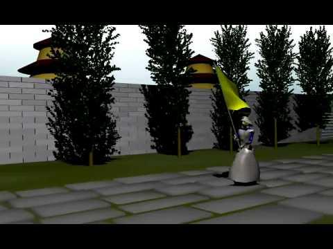 Teste: Samurai - Simulação de tecidos - Bandeira e Hakama - Lambert