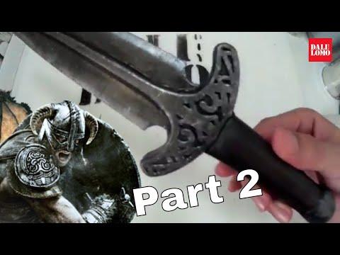 How to Make Skyrim Steel Dagger Part 2 - Weathering & Texture DIY