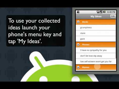 Songwriting Software, Android lyric writing app, Songwriter's Pad