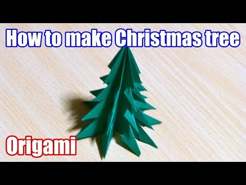 【DIY craft】How to make Christmas tree. Origami. The art of folding paper.