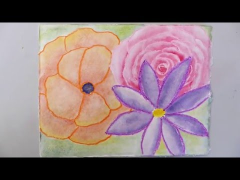Watercolor Flowers Using Crayons