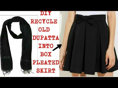 Convert Old Saree/Dupatta into Box Pleated Skirt|