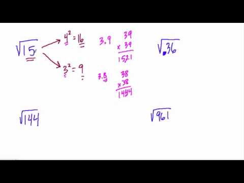 Solving for whole number and decimal square roots