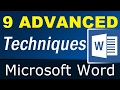 9 little known Advanced Techniques of Microsoft Word