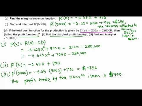 Marginal Revenue and Marginal Profit function