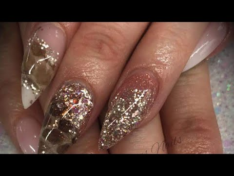 Acrylic nails - rose gold glitter design with real snake skin