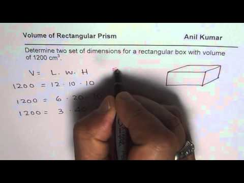 Determine dimensions and surface area of rectangular prism for given volume