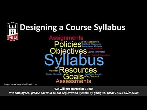 Developing a Course Syllabus