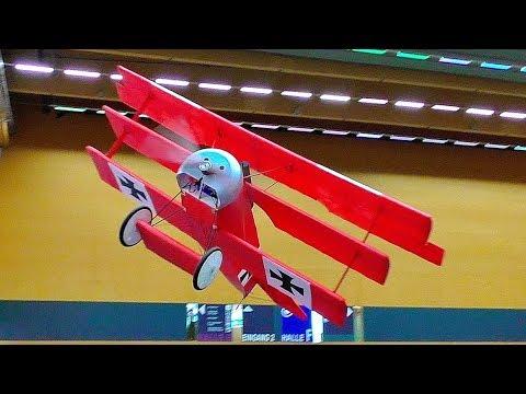 AMAZING HUGE RC LIGHTWEIGHT FOKKER DR1 SCALE MODEL AIRPLANE INDOOR FLIGHT DEMONSTRATION