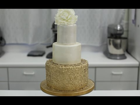 How To Decorate A Cake With Gold Sequins