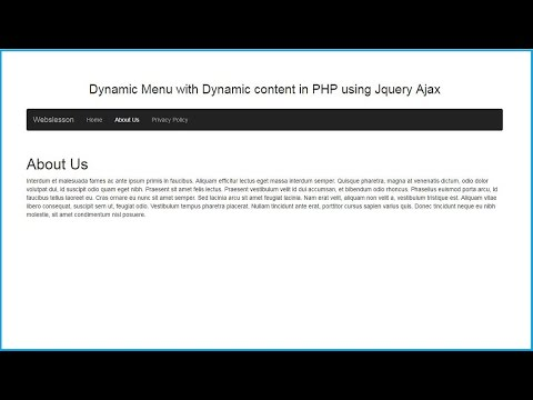 Dynamic Menu with Dynamic content in PHP using Jquery Ajax