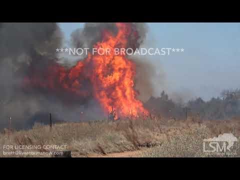 4-18-2018 Oakwood, Ok Rhea Fire deer run from wildfire, big flames air drops 4k