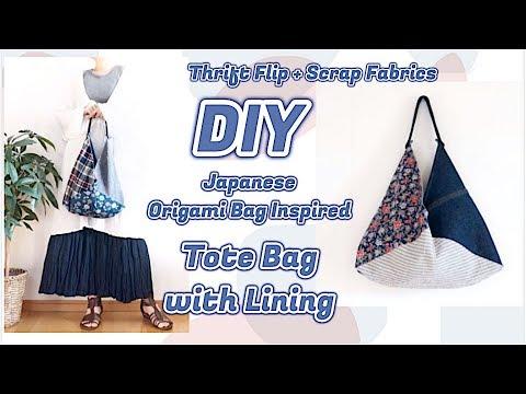 DIY Tote Bag Tutorial * THRIFT FLIP + Scrap Fabric Sewing Projects / リメイクファッションㅣmadebyaya